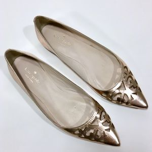 Kate Spade Rose Gold Cutout Gerona Leather Flat